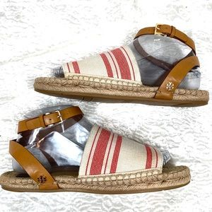 Tory Burch red awning espadrille sandals size 7.5